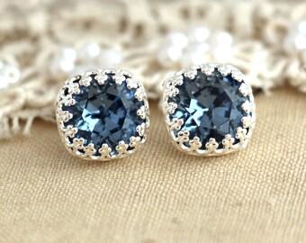 Blue Navy  Studs, Blue denim, Swarovski earrings, Crystal stud earrings,  Silver plated Silver post earrings real swarovski rhinestones .