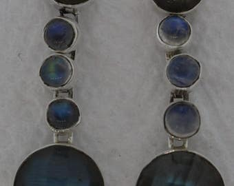 Authentic and Exqusite Sterling Silver 92.5 Earrings with Labradorite stone