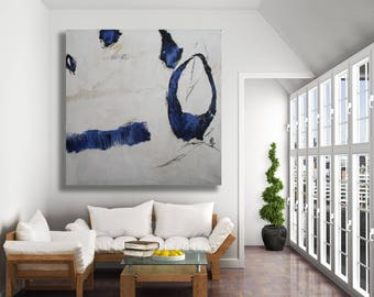 Large Blue and White Abstract Painting / Original Art / Texture Painting / Modern Art / Blue Abstract Art / XL Abstract Art