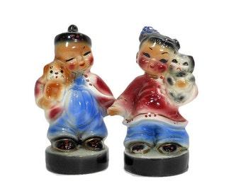 Vintage BOY GIRL Oriental Figurines, Porcelain Dog Cat Animals, Black Friday, Costumes Rose Blue, Mid Century Asian