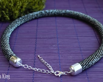 Beaded necklace handmade Gray necklace Bead crochet rope Crochet necklace with beads Stylish jewellry Disco Seed bead necklace