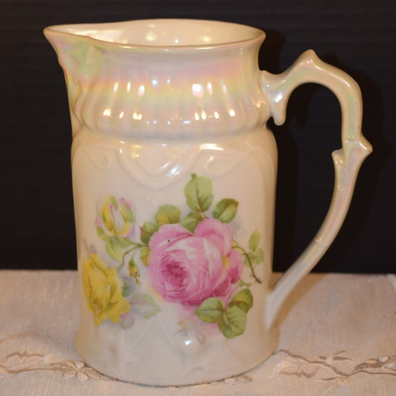 Bavaria Retsch Opalescent Rose Pitcher Vintage Pink Rose Water Jug Bavaria Servingware Gifts for Her Mothers Day Gift Wedding Gift