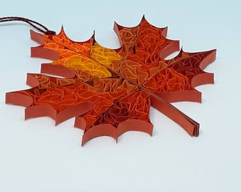 Quilled Fall Maple Leaf.  Sun-catcher, Ornament, Rear View Mirror or Package Hanger.