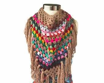 Crochet Fringe Triangle Scarf Boho Hippie Gypsy Inspired