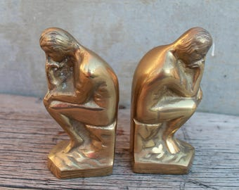 The Thinker Bookends, Rodins The Thinker Pair Famous Sculpture Art Book End Bookshelf Decor House Gift Figurine