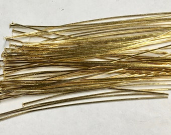 2 Inch Gold Plated Headpins Two inches 24 gauge Made in the USA 50 pcs  F559