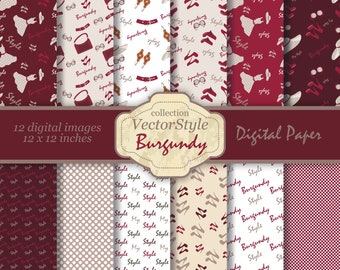 Stylish fashion digital paper, burgundy scrapbook paper