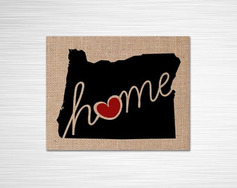 """Oregon (OR) """"Love"""" or """"Home"""" Burlap or Canvas Paper State Silhouette Wall Art Print / Home Decor (Free Shipping)"""