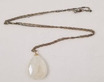 Vintage White Crystal Teardrop Pendant on Goldtone Necklace Chain with Lobster Claw Clasp.