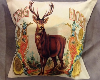 Stag Horn whiskey label featured on a decorative cushion/pillow size 16''x16''