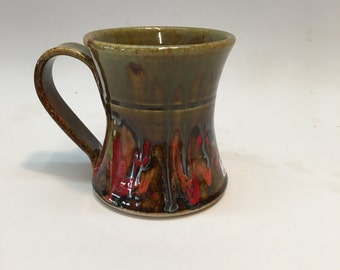 Coffee mug / cup - celadon with red green & yellow handmade pottery ceramics