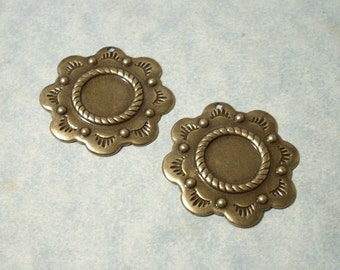 2 - Oxidized Brass Concho Charms, Southwestern Charms, 11mm Cabochon Settings, Earring Drops, Earring Components