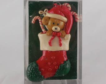 Vintage Enesco Christmas Ornament Teddy Bear in Stocking with Candy Canes