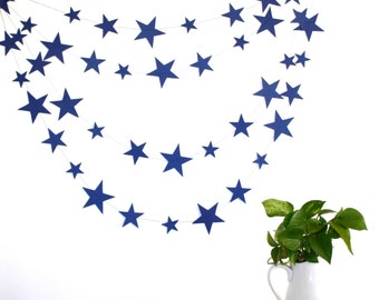 Navy blue stars garland, paper stars birthday party decor, navy blue paper garland, eco friendly nursery decor, kids room decor