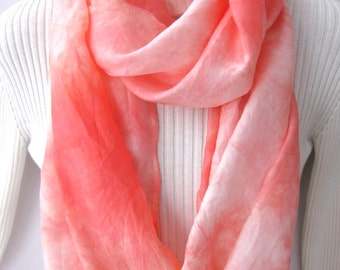 Scarf for Women silk infinity scarf - Coral Pink Silk Scarf Cowl Scarf Spring  Scarf Fashion Accessories gift for wife girlfriend
