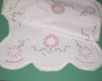 """Vintage Embroidered Dresser Scarf Runner Crocheted Lace Edge Pink Blue Flowers Bedroom Linens 42"""" long"""