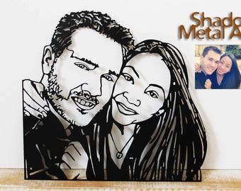 custom couple portrait from photo to metal wall art - unique birthday gifts for men - wedding gifts for couple sculpture - engagement gift