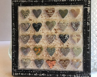 mixed media metallic heart art- polymer clay heart art on canvas