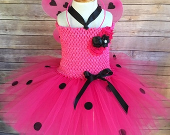 Hot pink ladybug costume - love bug tutu - halloween costume - tutu dress - ladybug halloween costume - hot pink tutu - girls dress up & Ladybug dress lady bug tutu ladybug costume ladybird