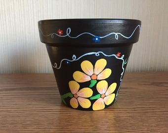 Hand-painted 6 inch flower pot, Yellow Flower and Vines