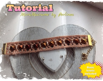 Micro Macrame Tutorial DIY Bracelet with studs Beaded Macrame