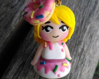 Donut Girl, Polymer Clay, Chibi Keychain
