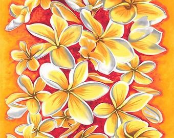 If You Like Pina Coladas PLUMERIA Fabric Panel