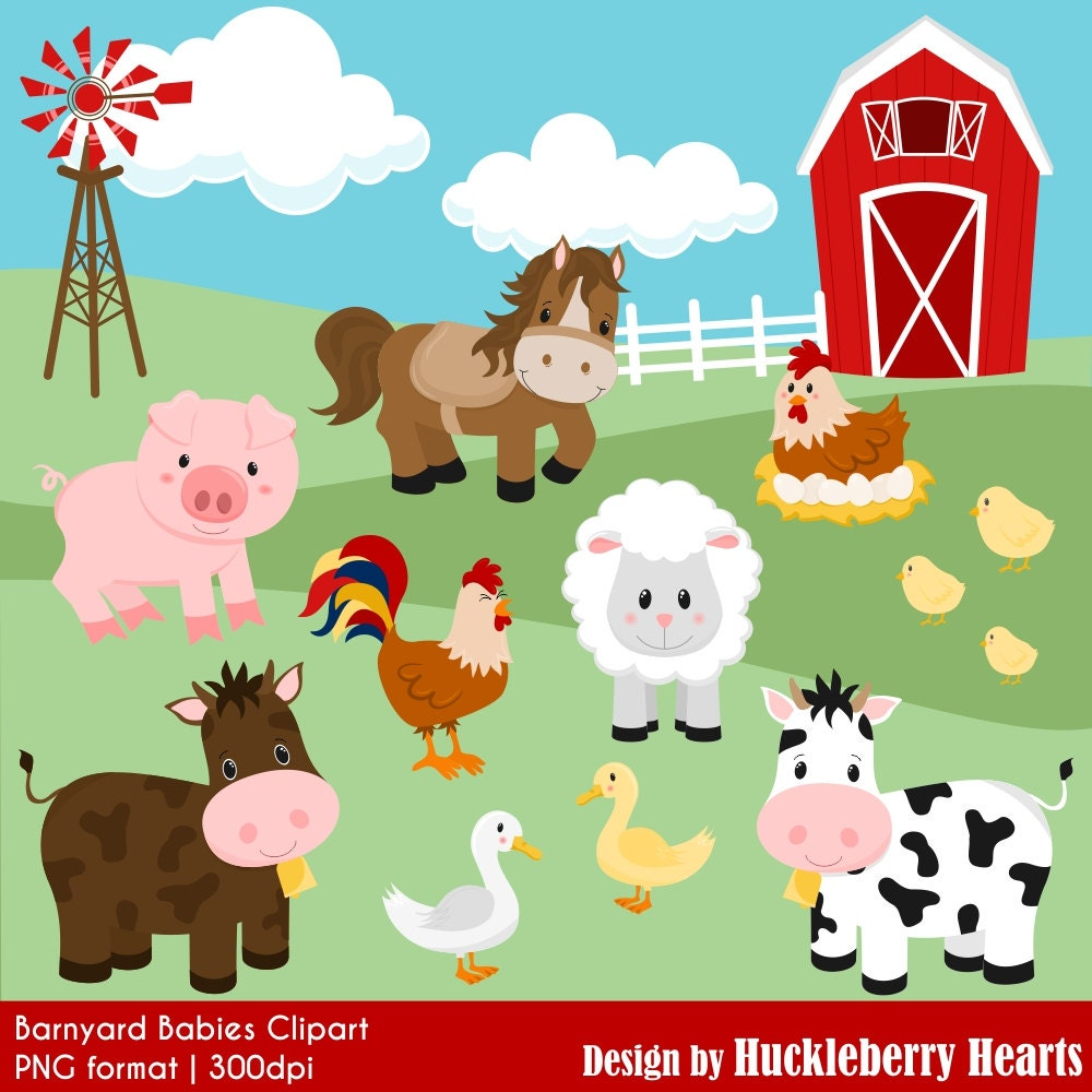 farm clipart barnyard clipart cow clipart horse clipart rh etsy com clipart barnyard animals barnyard animals clipart free