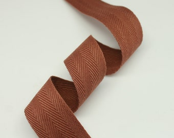 """5 Yards of Brown Color 15mm (5/8"""") or 25mm (1.0"""") Cotton Twill Herringbone Ribbon Fabric Ribbon Tape Vintage Color trim - Annielov Craft"""