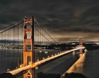 Golden Gate Bridge in San Francisco at Night Photograph, California Coast Photography, Orange and Black Cityscape Print - I Left My Heart