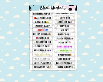 Australian Public Holidays Planner Stickers - Erin Condren - Mulberry POP - Various Planners - Kikki K - Bullet Journal