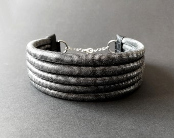 Choker necklace / choker 5 rows silver black fabric - matching earring set - light, trendy and washable - evening / chic
