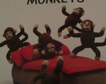 Handmade Knitted Five Little Monkey, Include 1 Bed,Pillows And Cover, Part Of The Nursery Rhyme Collection (New, Made To Order) 3+