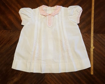 Vintage Baby Doll White and Pink Cotton Dress, Vintage Baby Clothes