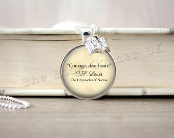 Narnia, 'Courage, Dear Heart' Aslan Necklace, Chronicles of Narnia Key Ring, C S Lewis Keychain