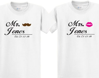 Cute Couples Tee shirt set Mr. & Mrs with Your Custom Name and Date