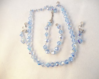 Blue AB Crystal Beaded Jewelry Set, Necklace, Bracelet, Clip on Earrings