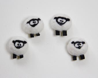 Sheep Magnet Funny Cute Felted Wool