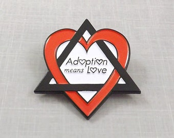 Adoption Means Love Pin, Enamel Pin Adopting Gift, Adoption Symbol, Foster Parent Jewelry, Birth Mother, Gotcha Day, Father Triangle of Love