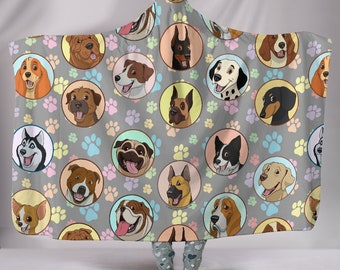 Dogs Galore Hooded Sherpa Blanket - Great Gift For Dog Lovers