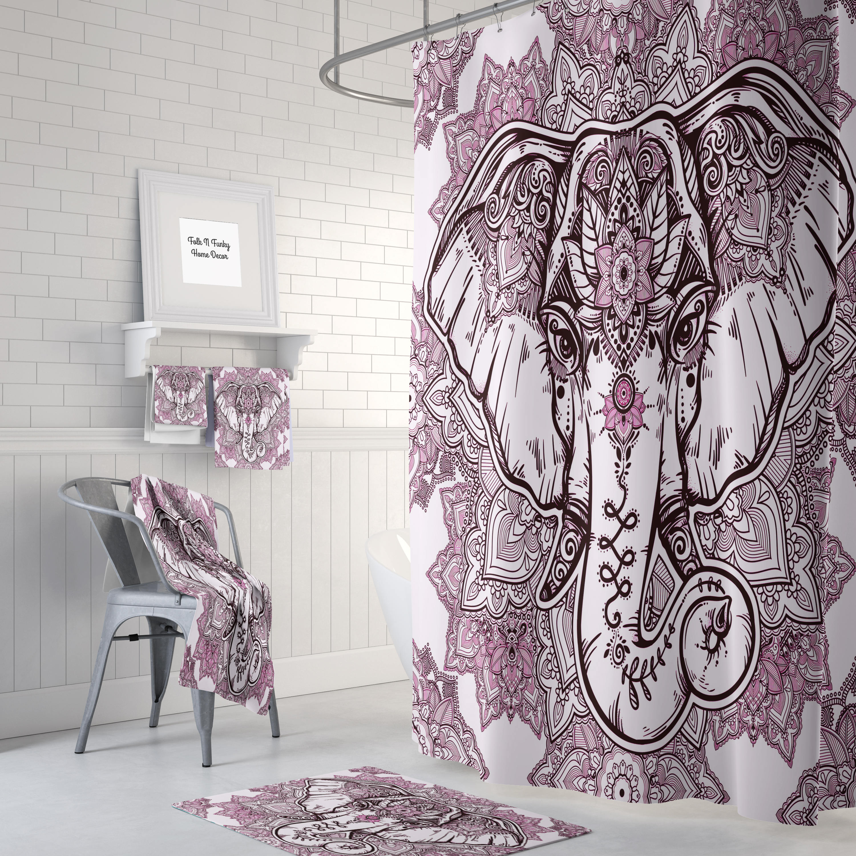 Boho Chic Elephant Shower Curtain Bath Mat Bath Towls