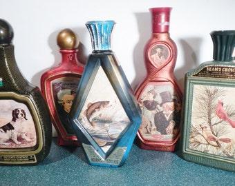 "Vintage Jim Beam Liquor Bottle - CHOICE - 1970s - Mozart, largemouth bass, Manet ""Au Cafe,"" cardinals, bourbon, whiskey"