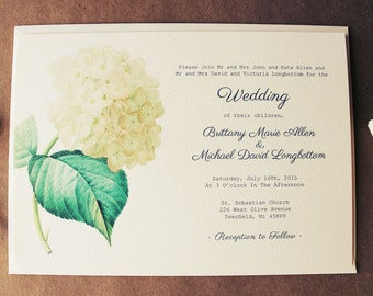 White Hydrangea Wedding Invitation Suite | Botanical Wedding Invitation Download | Vintage Wedding Invitations Handmade | White Wedding