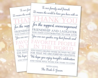 Wedding reception Thank you card Navy Pink (INSTANT DOWNLOAD) - To our family and friends - Navy and pink wedding