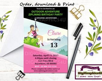 Zipline invitation custom printable teen girl birthday party girls ziplining zip lining zip line or outdoor adventure birthday party invitation personalized stopboris Gallery