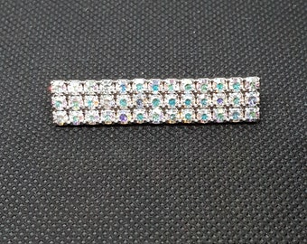 Vintage BAUER Rainbow Aurora Borealis swarovski crystal Bar Brooch