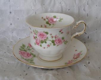 Vintage Teacup Saucer ~ Cup Plate ~ Pink Roses ~ England Avon ~ Tea