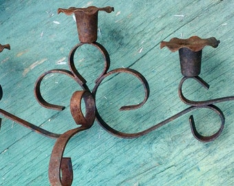 VINTAGE CANDLE HOLDER, sconce, rusty iron, shabby chic decor, candelabra, display