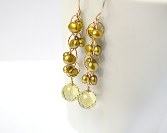 Lemon Quartz & Pearl Earrings, Pearl Cluster Earrings, Gold Dangle Earrings, Yellow Earrings, Gold Green Earrings, Pearl Clusters, Olive