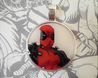 "1"" Deadpool white necklace"